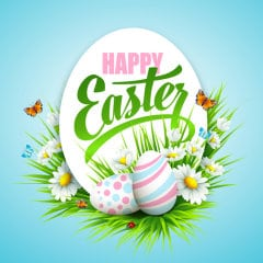 Easter poster with eggs and flowers. Vector illustration