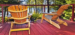 Resort deck chairs overlooking lake