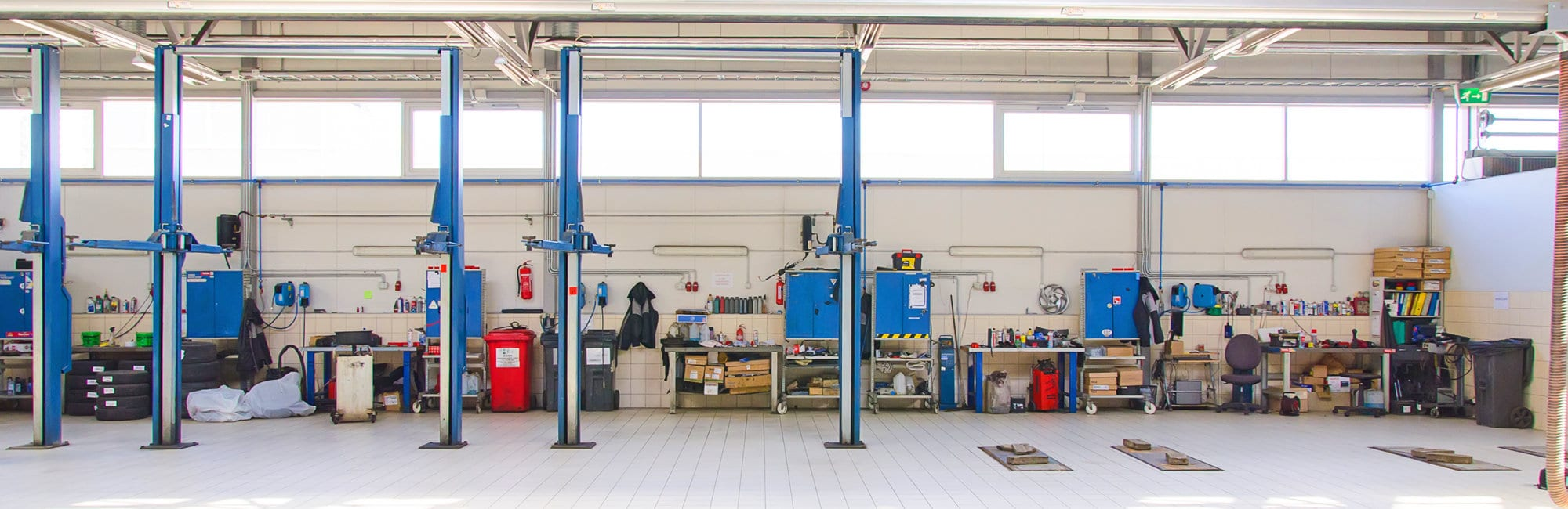 View of automobile repair shop or garage.