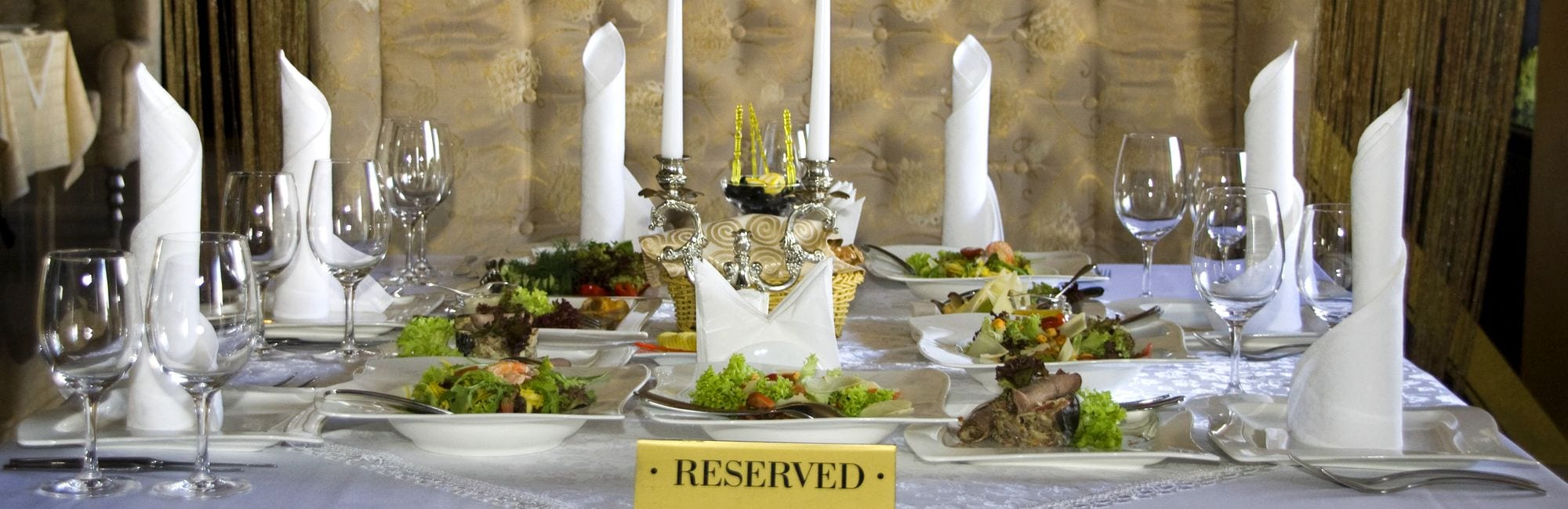 Reserved table in luxury restaurant