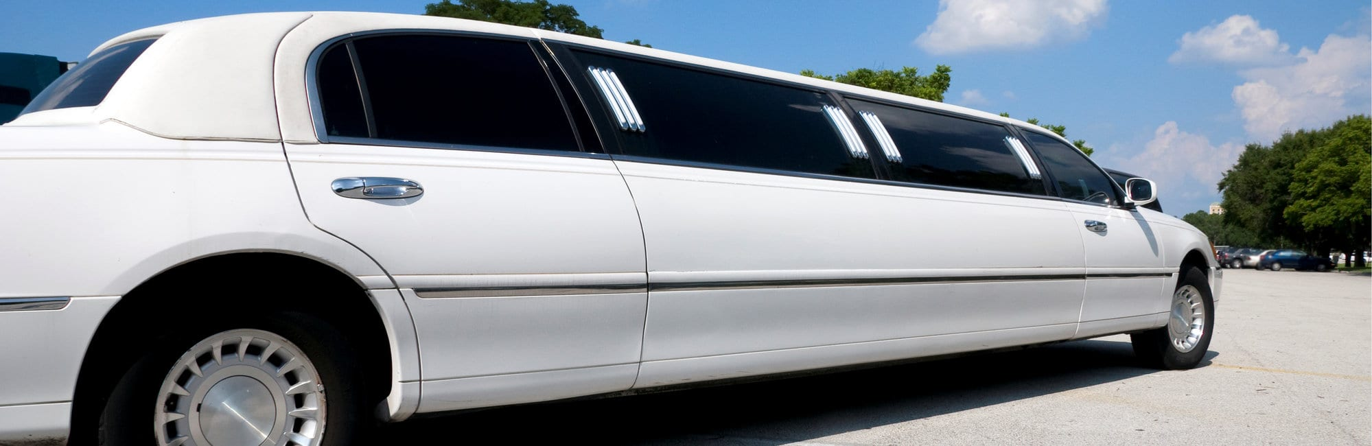 Black Stretch limousine waiting for guests to arrive