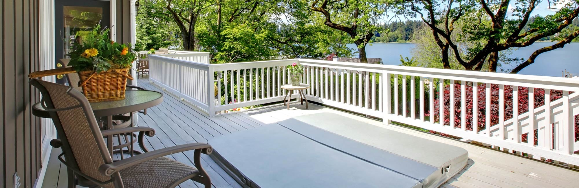 vacation home deck with lake view